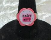 Make Art Pink Wooden Flower Adjustable Ring