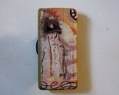 Steampunk Victorian Dandy with Gears on Bamboo Domino Tile Magnet