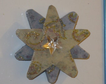 Blue and Green Triple Star Wooden Magnet
