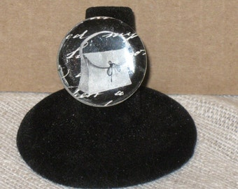 Black and White Handbag Mirror Tile Button Adjustable Ring