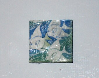 Blue and Green Triple Fish Ocean Square Glass Mirror Tile Magnet