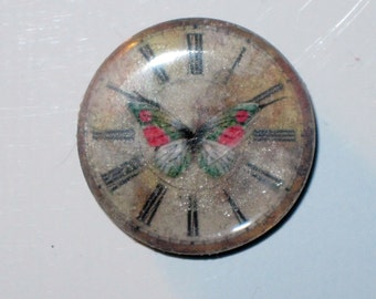 Clock and Butterfly Round Mirror Tile Mini Magnet