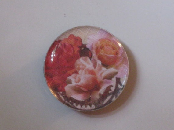 Pink Roses with Gears Round Button Mirror Tile Magnet