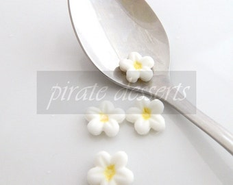 Canary Yellow and White SUGAR FLOWERS - Quarter inch (6mm) Fondant Blossoms  - Edible cake decorations (Yellow/White) (12 pieces)