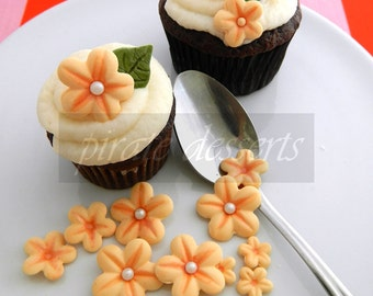 CANDY FLOWERS- Sherbet Orange Sugar Flowers ASSORTED sized Fondant Blossoms - Edible cake decorations (Orange) (24 assorted pieces)