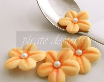 CANDY FLOWERS- Sherbet Orange  Sugar Flowers- 1 inch (25mm) Fondant Blossoms- Edible cake decorations- Flower Cupcakes (Orange) (12 pieces)