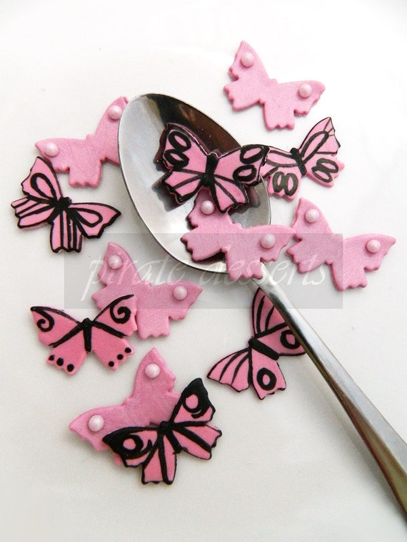 Cupcake Topper - PINK BUTTERFLY Fondant Cupcake toppers- Assorted styles- one inch- Edible Candy butterflies- Baby Shower (24 pieces)