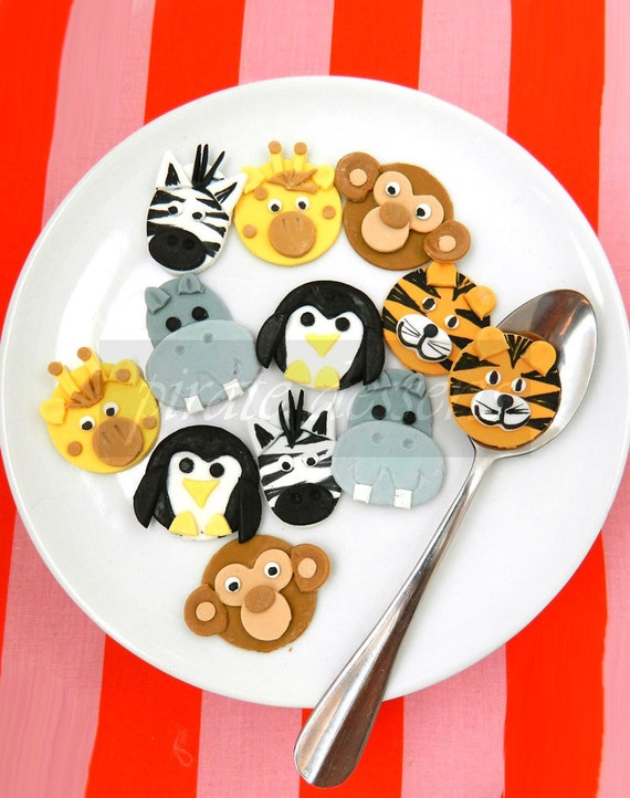 Edible cupcake toppers zoo animals birthday party by for Animal print edible cake decoration
