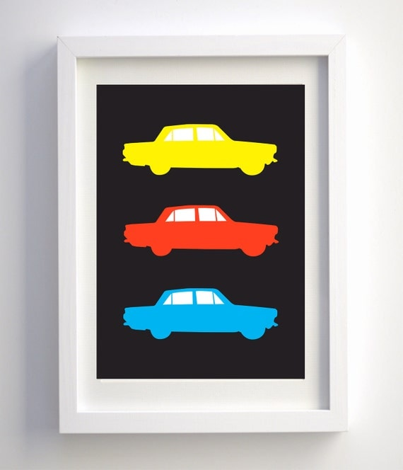 Pop Art Car Poster A3, Retro Illustration, Old Classic Cars