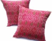 Authentic Ikat Pillow Pink Pillow -ETHNIC & WOVEN - Set of 2 - 16 x 16
