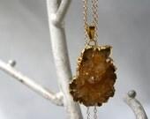 Gold Citrine Cluster Druzy Stone Necklace