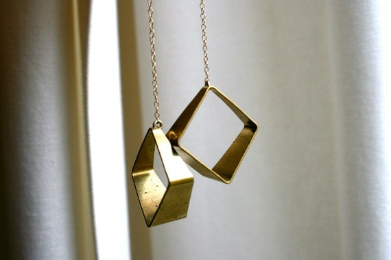 Geometric Brass Long Earrings. Raw Metal Square