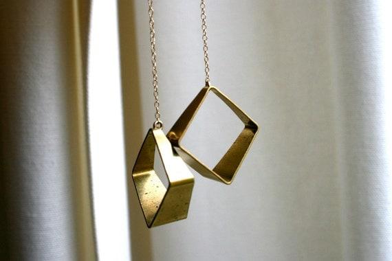 Geometric Brass Long Earrings. Raw Metal Square