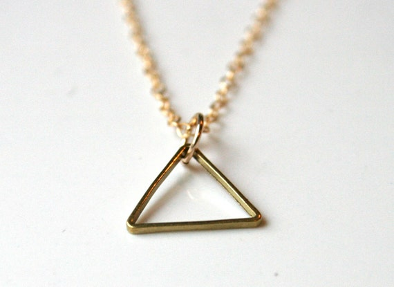 Small Triangle Necklace. Raw Brass on Gold Filled Chain