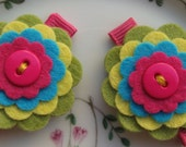 Birthday Party Favor- Colorful Felt Flower Clips-  Girls Hair Clips