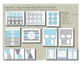 Blue & Gray Argyle Boy Baby Shower Printable Party