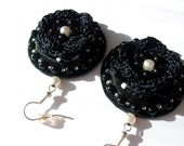 Black embroidered crochet textile earrings with white beads accents