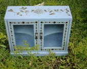 Decorative Blue Box with Shelves-Small Blue Box-WoodBurned Box- Blue Box- Trinket Box-Shabby Chic