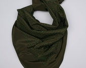 Polka dot print Silk grass green and olive Limited edition screen printed silk scarf