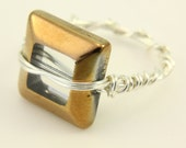 Large Golden Brown Square Set In Silver Plated Twist Ring