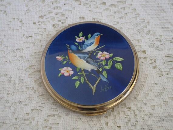 Antique bird compact, gold plate, compact mirror