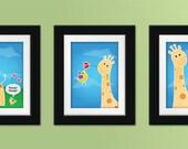 Giraffe Trio Set of Prints. Giraffe nursery art. Giraffe nursery decor. Giraffe wall art. Children's art. Kids art.