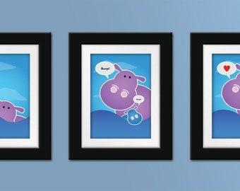 Hippo Trio Set of Prints. Hippo nursery art. Hippo nursery decor. Hippo wall art. Children's art. Kids art.
