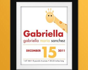 8x10 Custom Giraffe Birth Announcement. Personalized Nursery Art.