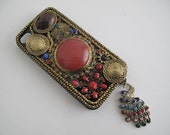 iPhone 4 Case // Antique Brass Red Jewel and Peacock Deco /// iPhone 4S Case /// iPhone 4 Cover / Handmade hard case   BR017