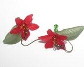 Spring Flowers, Swarovski Crystal Bead Dangle Earrings. Free Shipping