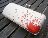 Latex Clutch Handbag: 'To Die For' design with a retro ball clasp closure, Dexter, Horror, Blood