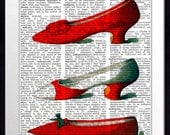 Large Print, Modern Vintage Composition Print,  11x14, Vintage, Collage, Modern, Photomontage, Home Decor, Wall Art, Red Shoes