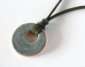 stoneware circle necklace glazed in gray