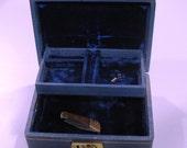 Jewelry Box Blue Mid Twentieth Century with Key and Working Lock