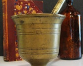 Antique Apothecary Mortar and Pestle Solid Brass