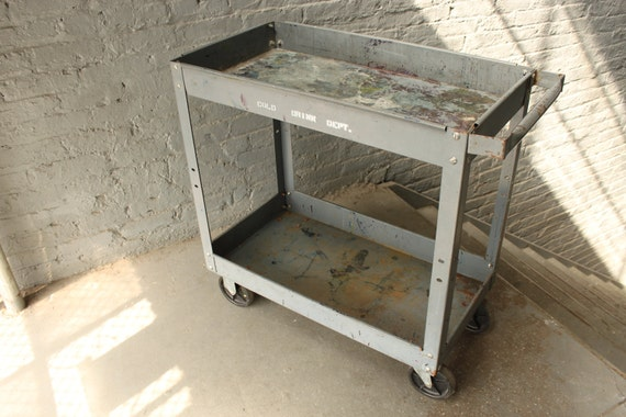 metal bar cart on casters // industrial grey with assorted colors
