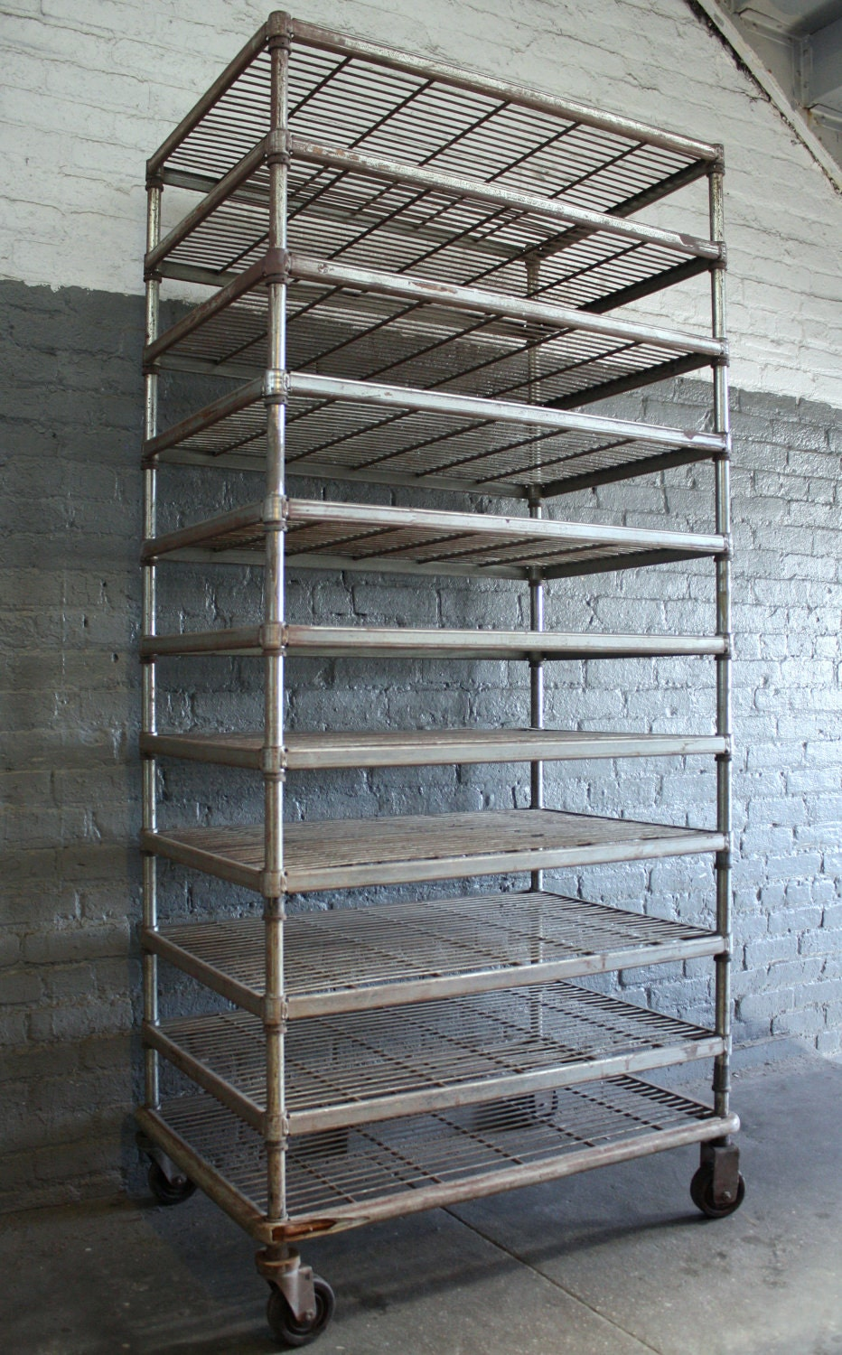 Vintage Bakers Rack Metal Shelving Unit