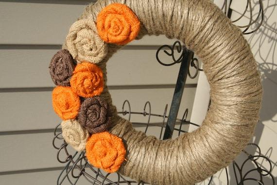 Fall Burlap Rose Wreath/Fall Jute Yarn Wreath/Halloween/Thanksgiving/Burlap Flowers/Roses