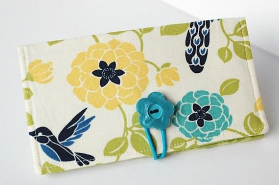 Handmade Checkbook Cover - Summer Hummingbird and Peacock