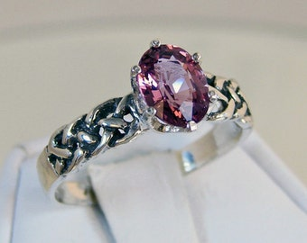 Ceylon Spinel Ring, 1.58 Carat, 925 Sterling Silver, Braided Ring - RING SIZE 9