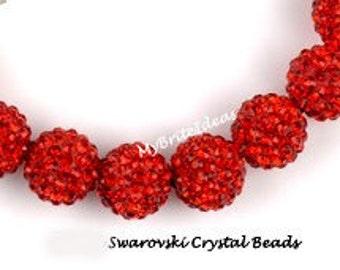5 Red 12mm Swarovski Crystal Disco Ball Beads aka Pave Rhinestone Disco Ball Beads