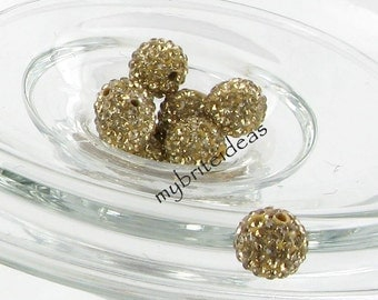 5 Light. Gold 10mm Swarovski Crystal Elements Disco Ball Beads aka Pave Rhinestone Disco Ball Beads Jewelry & Craft supplies Jewelry Making