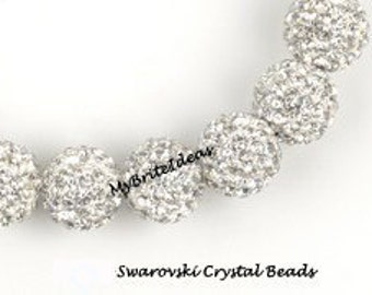 5 CRYSTAL 8MM Swarovski Crystal Elements Disco Ball Beads aka Pave Rhinestone Disco Ball Beads Jewelry Supplies and Beads and Craft supplies