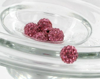 5 MED PINK 6mm Swarovski Crystal Elements  Disco Ball Beads aka Pave Rhinestone Disco Ball Beads