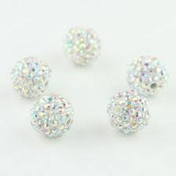 5 AB Crystal 10mm Swarovski Crystal Elements Disco Ball Beads aka Pave Rhinestone Disco Ball Beads Jewelry and Craft supplies Jewelry Making