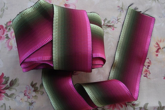 1y Antique Vintage French Wide Ombre Pink Green Grosgrain Millinery Floral Hat Rayon Cotton Ribbon Ribbonwork Supply Doll Craft Sewing