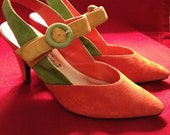 Black Friday Sale - Fabulous Mod Color Block Slingback Suede Heels by She's Sassy - Size 5
