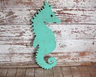 Seahorse whimsical wood sign beach cottage coastal distressed shabby chic