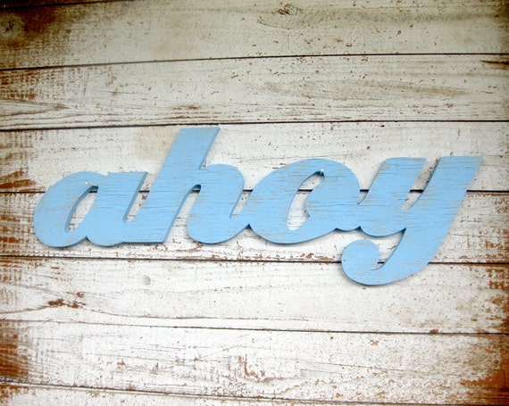 Ahoy beach decor nautical word wood sign cottage coastal distressed shabby chic