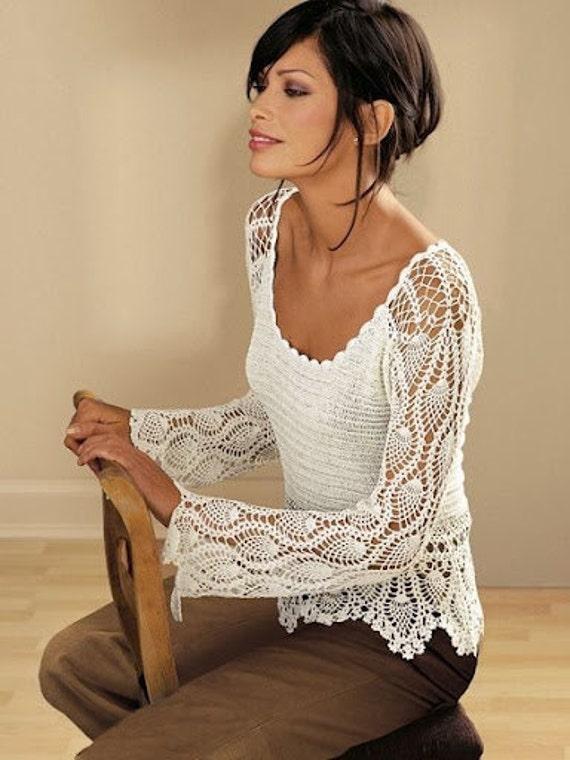 MADE TO ORDER elegant spring / summer women crochet blouse